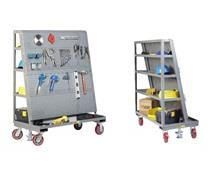 ALL-WELDED MOBILE PEGBOARD WITH BACK SHELF STORAGE